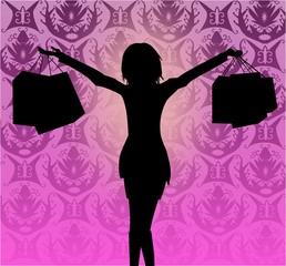 Glückliche Frau mit Taschen - Shopping