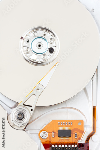 chrome hard drive with orange ribbon