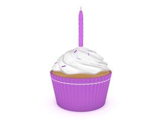 3d Rendering Cupcake mit Kerze lila / violett