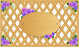 Wooden trellis with violets