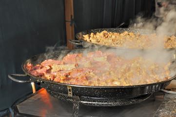 meat cooking at medieval market, esslingen