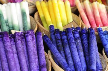colorful candles at medieval market, esslingen