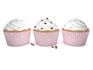 3d Rendering 3 Cupcakes rosa