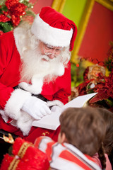 Santa reading to the children