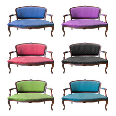 collection of vintage luxury armchair isolated with clipping pat