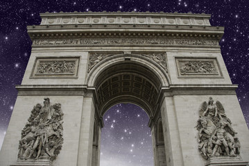 Starry Night over Triumph Arc in Paris
