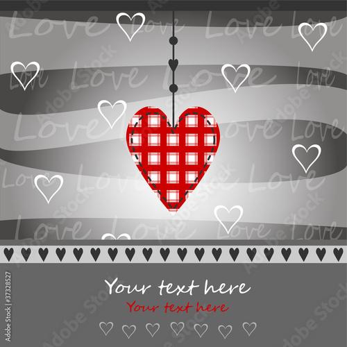 cuore rosso su sfondo grigio