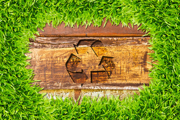 green grass and recycle sign on wood background