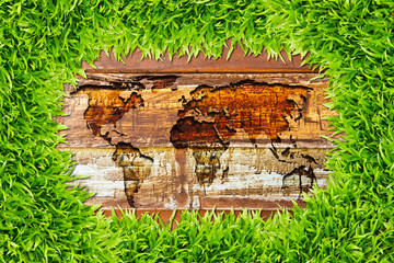 green grass and world map on wood texture
