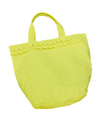 yellow cotton bag isolated with clipping path