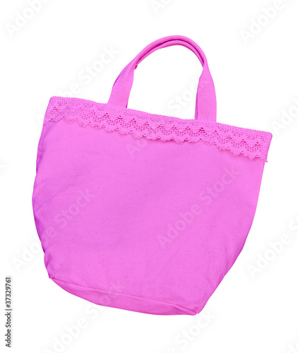 pink cotton bag isolated with clipping path