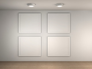 illustration of a gallery with 4 empty frames
