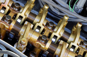 Car engine camshaft, valves, springs