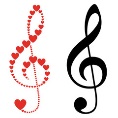hearts violin clef