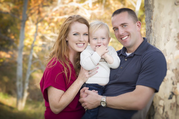 Young Attractive Parents and Child Portrait