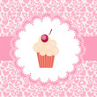 Card with a cupcake. vector illustration