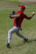 Baseball player throws a ball