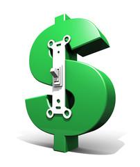 Dollar Symbol Power Switch (Green - On)