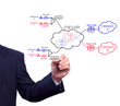 business man hand writing virtual private network concept