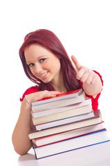 Studentin zeigt Top Daumen