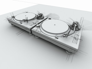 DJ Turntables 3D Sketch