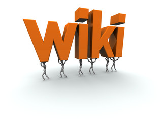 "3D mannequins carrying the word ""wiki"" in orange.."