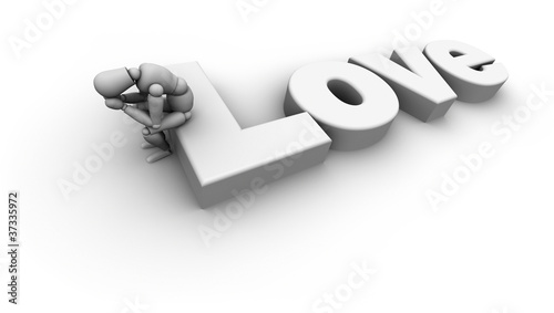 Sad Person Sitting on 'Love' Text