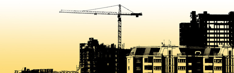 Silhouette of construction, construction equipment