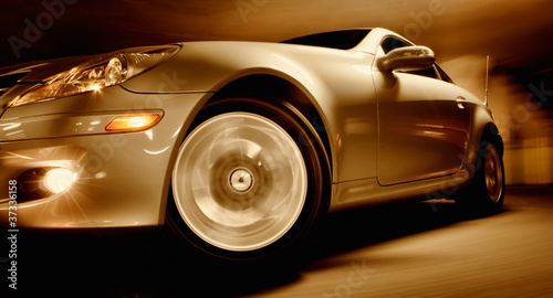 Fast Sports Car with Motion Blur