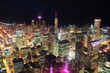 Chicago night aerial view