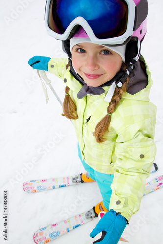 Skiing - portrait of  cute skier