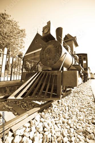 Retro photo of old  locomotive