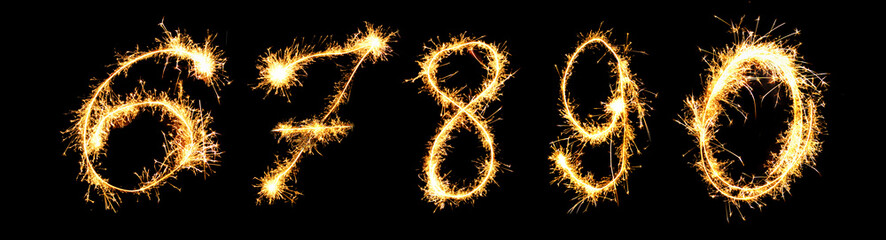 Real Sparkler Digits. See other digits in my portfolio.  6 7 8 9