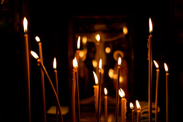 Lightning candles in church