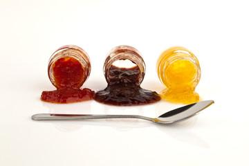 Peach jam, plum, and tomato.