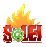 online Fire Sale text illustration design