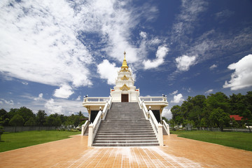 Thai temple and nice blue sky  in northern Thailand.