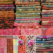 collage with colorful woolen scarfs on market