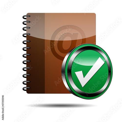 Icono agenda e-mail 3D con señal validacion