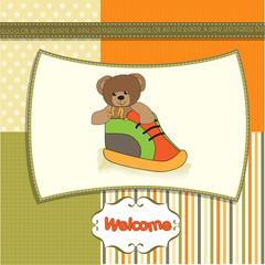 baby shower card with teddy bear hidden in a shoe