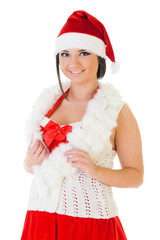 beautiful woman in santa carnival costume