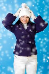 beautiful woman in winter fashion. Snowflake.