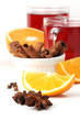 Mulled wine with oranges, cinnamon, anise and clove