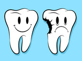 Fun Faces On Healthy And Decayed Teeth caries poster