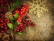 Christmas Vintage decorations over old wood background