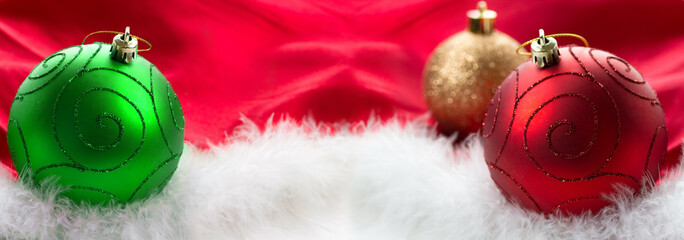 Christmas baubles background with copy space
