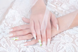 Hands of bride with manicure