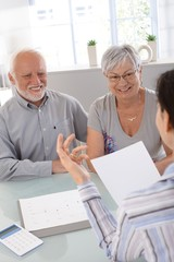Elderly couple at financial consultation