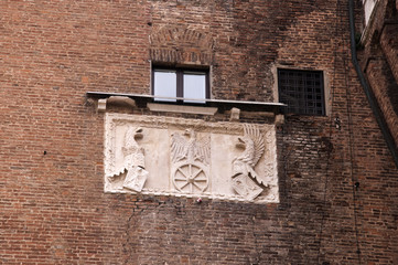Carving on Castle Wall in Ferrara Italy