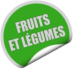 Sticker grün rund curl unten FRUITS ET LÉGUMES